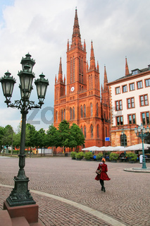 Schlossplatz square with Market Church in Wiesbaden, Hesse, Germ