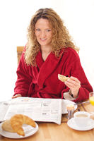 Cute Woman having breakfast