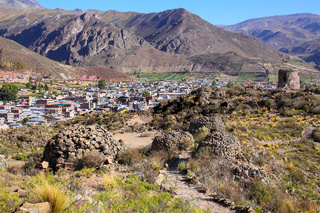 View of pre-Incan ruins and Chivay town in Peru