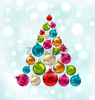 Christmas Abstract Tree Made in Colorful Balls