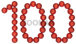 Numeral 100, one hundred, from decorative balls, isolated on white background