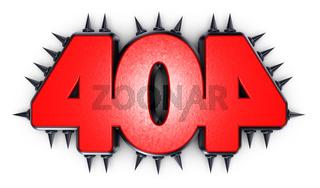 die zahl 404 mit stachelnieten - 3d rendering