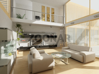 Modern livingroom with large windows.