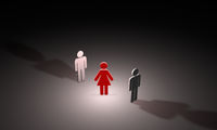 Love triangle (symbolic figures of people). 3D illustration rendering