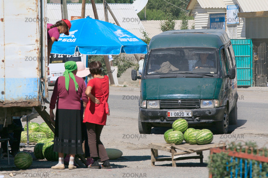 Street sale of melons in Grigorievka, Kyrgyzstan