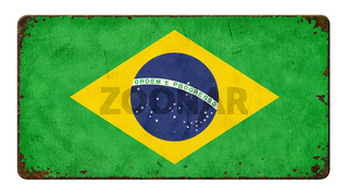 Vintage metal sign on a white background - Flag of Brazil