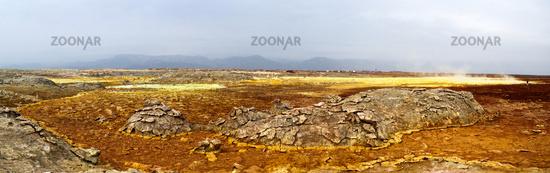 Panorama inside Dallol volcanic crater in Danakil depression Ethiopia