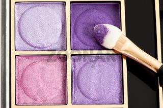 make-up eyeshadows and cosmetic brush