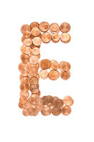 Letter E made from Euro cent coins