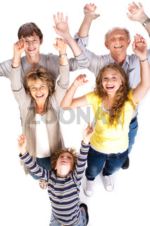 Overhead view of cheerful family