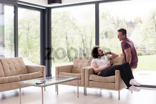 Gay Couple Love Home Concept