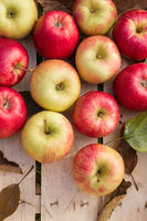 Organic apples in a wooden box
