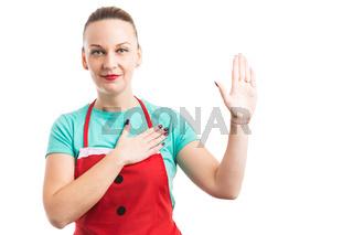 Housekeeper, maid or wife making true oath