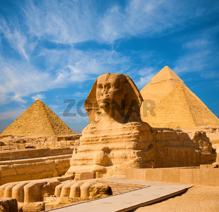 Sphinx Full Body Blue Sky All Pyramids Egypt