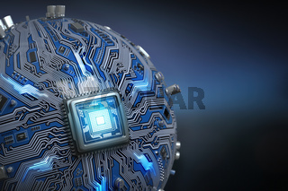 Circuit board system chip with core processor. Spherical computer motherboard with CPU. Futuristic computer technology background.