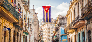 Street in Havana with Cuban Flag