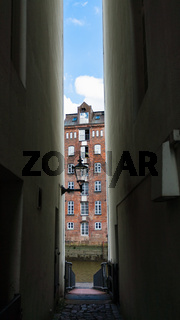 narrow passage to canal in Hamburg