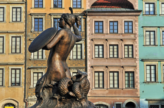 Statue of Mermaid in the Old Town Square of Warsaw