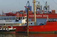 Historic ships lying at museum harbour near Övelgönne, Hamburg, Germany, Europe