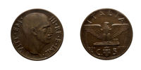 Five 5 cents Lire Copper Coin 1936 Empire Vittorio Emanuele III Kingdom of Italy