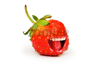 Red strawberry isolated on the white background