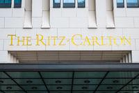 The Ritz Carlton logo on the  building exterior of the Ritz Carlton Hotel in Berlin