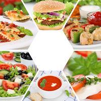 Sammlung Collage Essen Gerichte Restaurant Speisekarte Karte