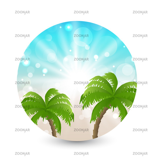 Summer holiday picture with sunlight and palm leaves