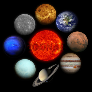 Solar system. Planets on black background.