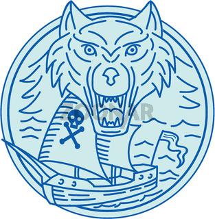 Seawolf Pirate Ship Circle Mono Line