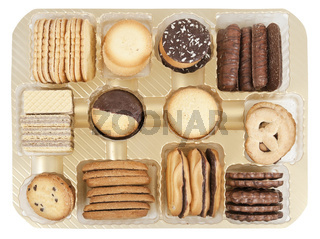 Container with allsorts chocolate cookies