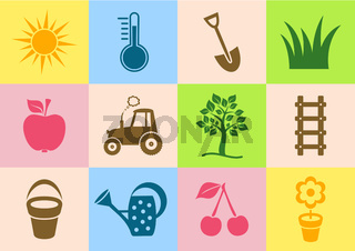 Colorful vector garden icons collection on white background