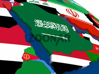 Arab peninsula on 3D map with flags