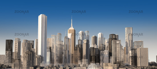 Modern cityscape in daylight. Close up view.