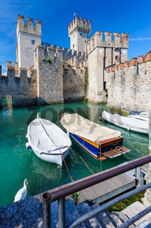Medieval castle Scaliger in old town Sirmione on lake Lago di Garda, northern Italy