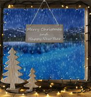 Window, Winter Scenery, Merry Christmas And Happy New Year