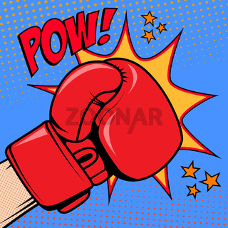 Human hand in pop art style with boxing glove. Pow. Design element for poster, flyer.