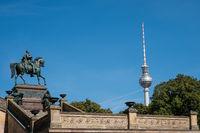 Berlin landmarks: TV Tower and  statue of Frederick William IV -/ Friedrich Wilhelm
