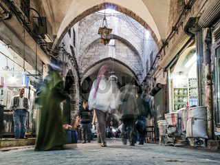 souk market shopping street in old town of aleppo syria