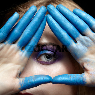 Eye of Providence, eye pyramid symbol made of hands and female face