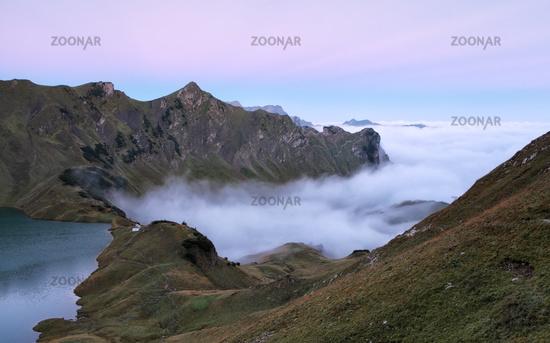 fog sea in morning mountains