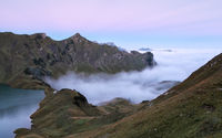 fog sea in morning mountains