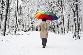 bunter Schirm im Winterwald