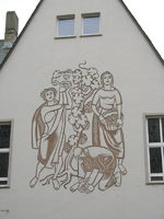 painting on facade of house at Ruedesheim, Germany