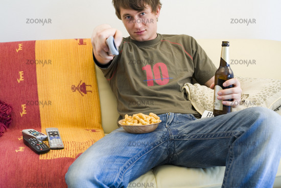 Man watching sports on tv