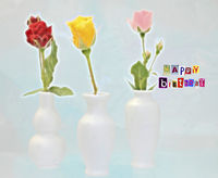 Graphic birthday card with colorful roses and text Happy Birthday.