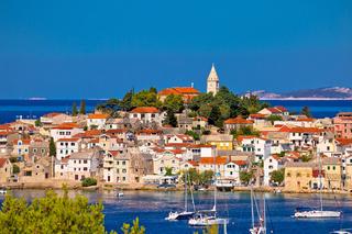 Adriatic tourist destination of Primosten skyline view