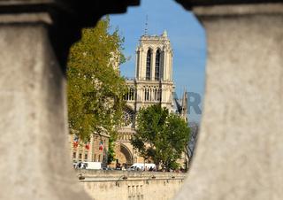 Notre Dame durch Brückengeländer