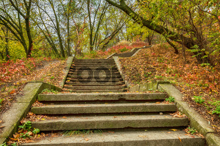 Stone steps in the fall city park. Autumn city mark