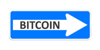 german one way sign with the word bitcoin